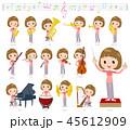 女性 楽器 オーケストラのイラスト 45612909