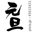 元旦 筆文字 文字のイラスト 45615431
