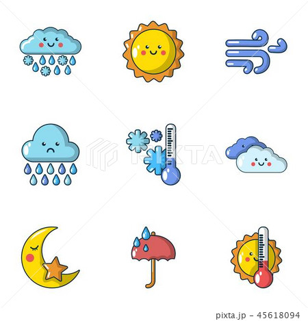 Meteorological data icons set, cartoon style 45618094