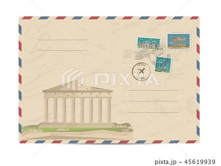 Vintage postal envelope with stamps 45619939