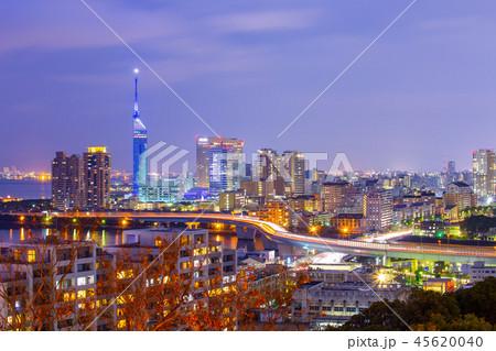 Hakata skyline at night in Fukuoka, Japan 45620040