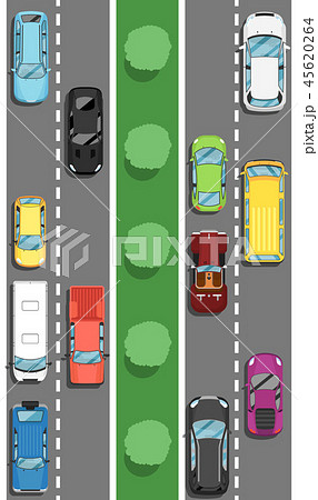 Highway traffic in rush hour poster in flat style 45620264