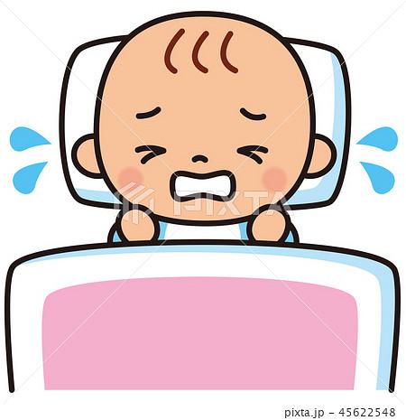 泣いている赤ちゃん 布団 45622548
