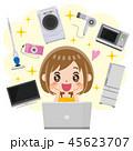 ネットショッピング 女性 オンラインショッピングのイラスト 45623707