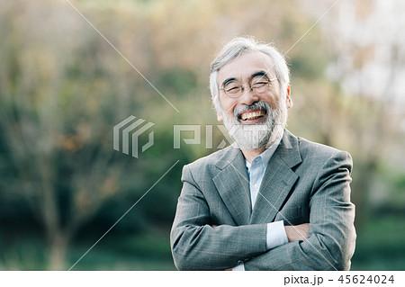 笑顔のシニア男性 公園 45624024