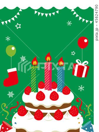 クリスマスカード イラスト(緑)/文字なし 45624790