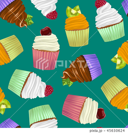 Realistic Detailed 3d Cupcakes Seamless Pattern Background. Vector 45630624