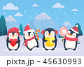 ぺんぎん ペンギン 冬のイラスト 45630993