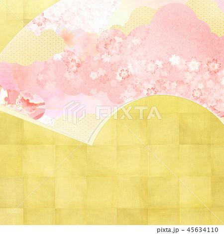 和-和風-和柄-背景-和紙-金箔-春-桜-ピンク 45634110