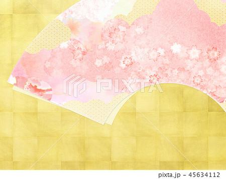 和-和風-和柄-背景-和紙-金箔-春-桜-ピンク 45634112