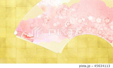 和-和風-和柄-背景-和紙-金箔-春-桜-ピンク 45634113
