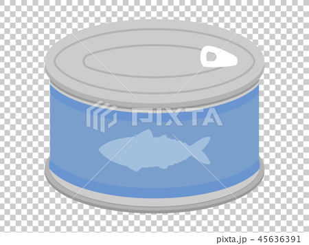 鯖缶(サバ缶)のかわいいおしゃれな缶詰イラスト素材 45636391
