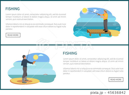 Fishing Posters Set and Text Vector Illustration 45636842
