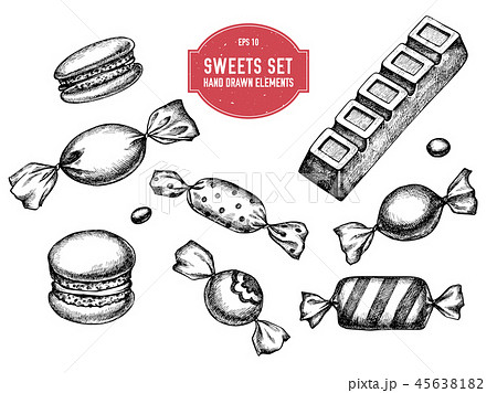 Vector collection of hand drawn black and white macaron, bar, candies 45638182