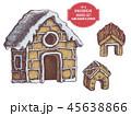 クリスマス ジンジャーブレッド 家のイラスト 45638866