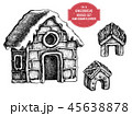 クリスマス ジンジャーブレッド 家のイラスト 45638878
