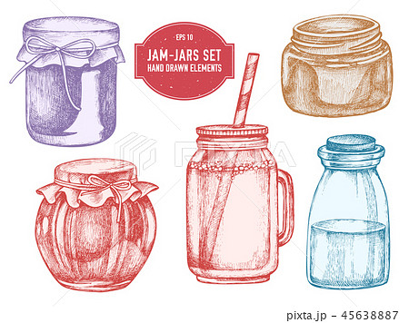 Vector collection of hand drawn pastel jars 45638887