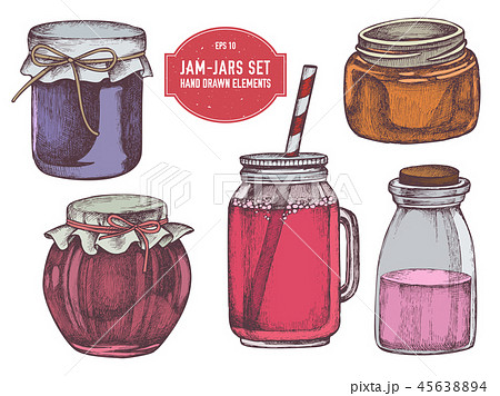 Vector collection of hand drawn colored  jars 45638894