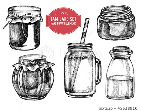Vector collection of hand drawn black and white jars 45638910