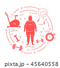 男性 太った エクササイズのイラスト 45640558