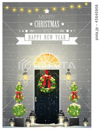 Decorated Christmas front door background 45640906