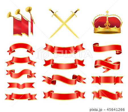 Ribbons and Swords Icons Set Vector Illustration 45641266
