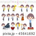 女性 楽器 クラシックのイラスト 45641692