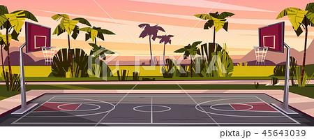 Vector cartoon background of street basketball court 45643039