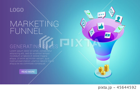 Landing page design with concept of marketing funnel 45644592