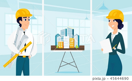 Group of architects with city architecture layout 45644690