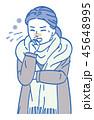 風邪 女性 ベクターのイラスト 45648995