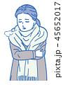 女性 ベクター 寒いのイラスト 45652017