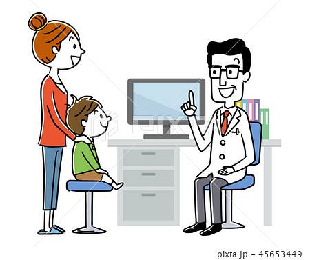 診察:男性医師と母親と男の子 45653449