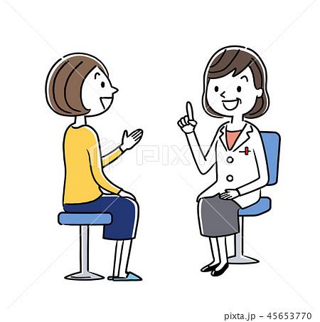 診察:女性医師と若い女性 45653770