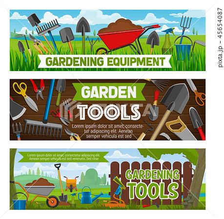 Gardening banners vector gardener equipment 45654087