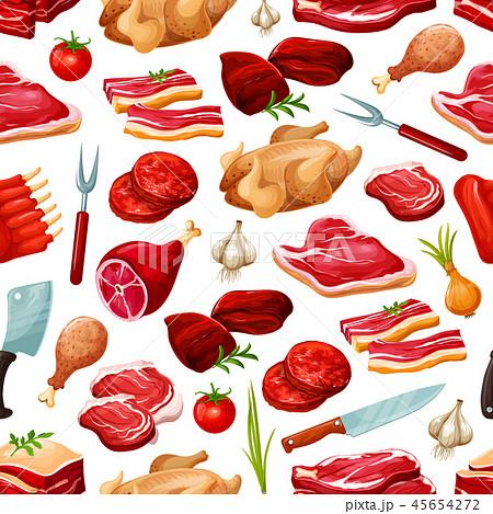 Butcher shop farm meat products pattern 45654272