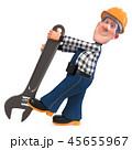 3d illustration Builder worker in overalls 45655967