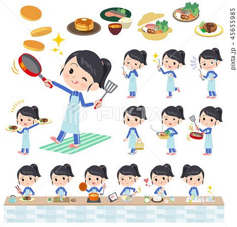 school girl Blue jersey_cooking 45655985