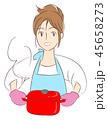 女性 主婦 料理のイラスト 45658273