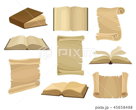 Old books and paper scrolls or parchments set vector Illustration on a white background 45658498