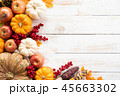 Top view of  Autumn maple leaves with Pumpkin 45663302