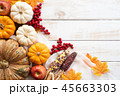 Top view of  Autumn maple leaves with Pumpkin 45663303