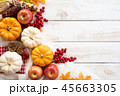 Top view of  Autumn maple leaves with Pumpkin 45663305