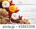 Top view of  Autumn maple leaves with Pumpkin 45663306