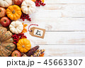 Top view of  Autumn maple leaves with Pumpkin 45663307