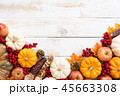 Top view of  Autumn maple leaves with Pumpkin 45663308