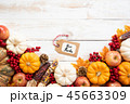 Top view of  Autumn maple leaves with Pumpkin 45663309