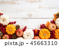 Top view of  Autumn maple leaves with Pumpkin 45663310