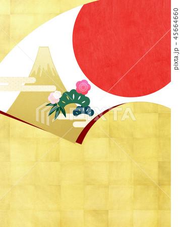 背景-和-和風-和柄-扇-金箔-富士山-日の出-松竹梅 45664660