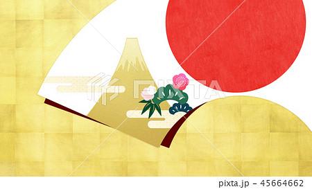 背景-和-和風-和柄-扇-金箔-富士山-日の出-松竹梅 45664662